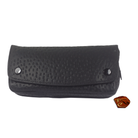 Black leather 1 Pipe Bag with tobacco pouch