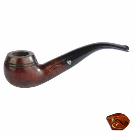 Courrieu briar Pipe from France (Cogolin): Bullmoose shape, smooth brown waxed finish, ebonite stem,